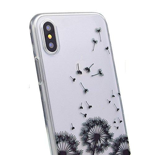 iPhone X Case Custodia Cassa,Dente Di Leone Nero Trasparente Custodia TPU Silicone Bumper Sottile Protezione Antiscivolo Resistente Modello Coper Guscio per Apple iPhone X