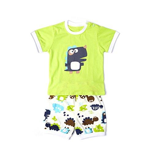 Baby Clothes Set Infant Outfits Cartoon Unicorn Dinosaur T-Shirt Short Pants Summer Boy Girl (Green, 2T)
