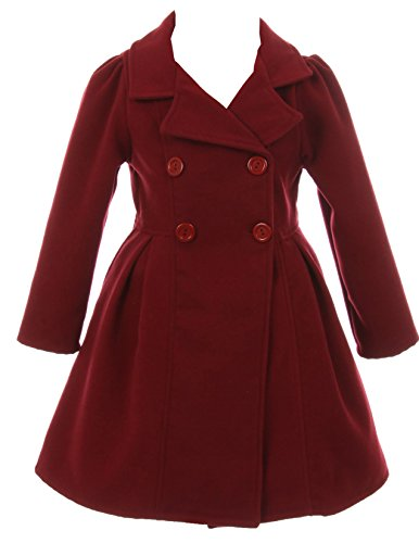 iGirlDress Coat Long Sleeve Button Pocket Long Winter Coat Outerwear Burgundy Size 4