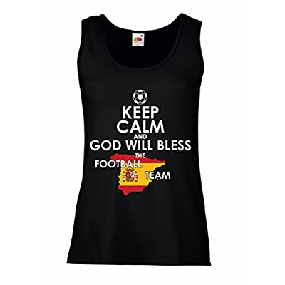 N4498P Female Tank top Keep Calm and God will Bless the Spanish football team