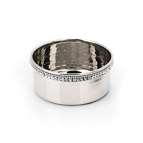 Classic Touch SDWC464 Stainless Steel Wine Bottle Coaster with Diamonds, (High Wine Coaster)