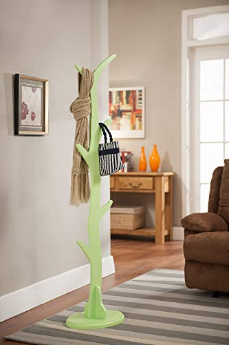- King's Brand Contemporary Tree Style Wood Coat and Hat Rack Stand, Mint Green