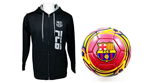 FC Barcelona Official Soccer Hoodie Jacket & Size 5 Ball Combo Adult 11 Small by F.C. Barcelona