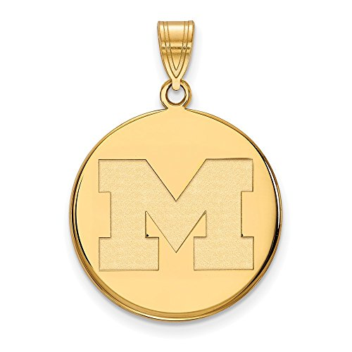 Sterling Silver w/ 14K Yellow Gold-Plated LogoArt Official Licensed Collegiate University of Michigani (UM) Large Disc Pendant by LogoArt