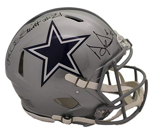 Ezekiel Elliott & Dak Prescott Signed Dallas Cowboys Speed Pro Helmet BAS