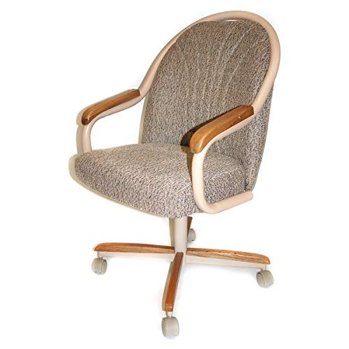 Metal Dining Chair with Microfiber Upholstery - Dining Chair with Casters and Solid Back - Oatmeal