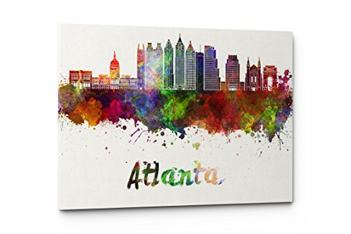 Atlanta Wall - Watercolor City Splash Skyline Wall Art Canvas Print (Atlanta)
