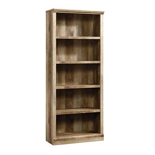 Sauder East Canyon 5 Shelf Bookcase in Craftsman Oak - Oak Tall Bookcase