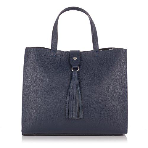 Laura Moretti - Bolso totes de hombro de cuero con cierre de correa y charm de borla (tamaño pequeño) Azul