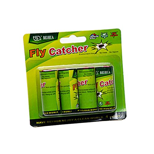 HOUTBY 4 X Green Insect Bug Fly Hanging Glue Catcher Trap Ribbon Tape Strip Sticky Flies Rolls Paper Bait
