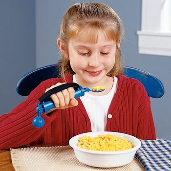 """Steady Spoon. Pediatric Handle: 4½""""L x 1.125""""D. Handle and bowl: 7¾""""L. Strap: 4""""L. Weighs 5 oz., Blue. Youth size bowl"""