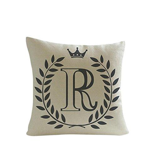 Kimloog 18 x 18 Linen Throw Pillow Case Leaf Letters Pattern Decorative Square Cushion Cover (R)