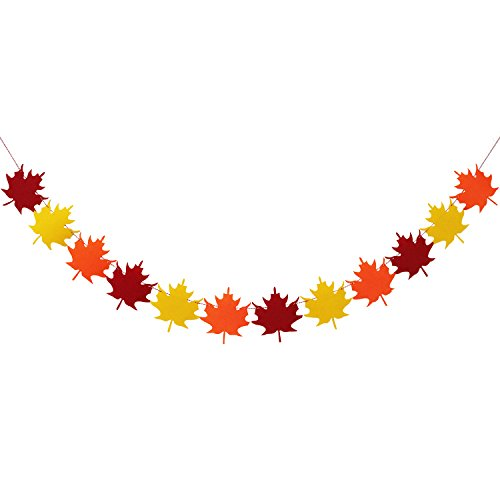 Felt Maple Leaves Garland Banner - NO DIY - Fall Decor - Thanksgiving Decor - Thanksgiving Day Decorations - Thanksgiving Party Supplies