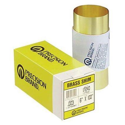 .01'' T X 6'' W X 100'' L, Brass Shim Stock - No. 17415/17S10 by Precision Brand