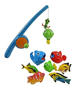 Rod and reel fishing bath toy set for kids for Fishing toy set