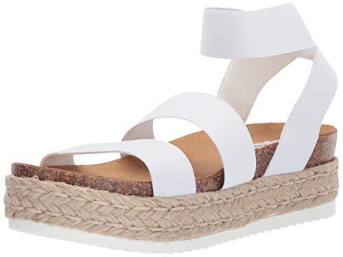 (Steve Madden Women's Kimmie Wedge Sandal, White, 5 M US)