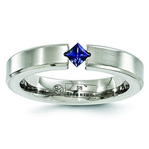 Titanium Brushed Sapphire Wedding Band Size 7