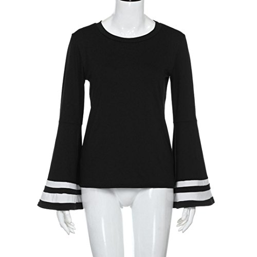 VENMO Mujeres De Cuello Redondo Manga Larga De Manga de la llamarada Casual De Las Camisas Blusa negro