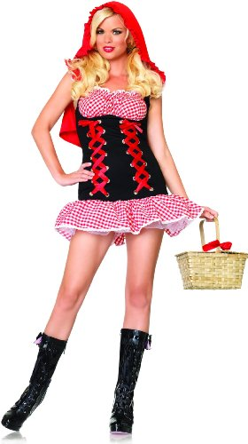 Leg Avenue Women's Red Hot Riding Hood Costume, Red/Black, Small/Medium (Non Sexy Costumes For Women)