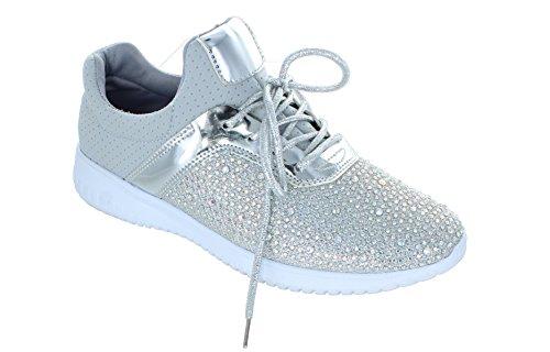 Solo U Womens Strass Perline Comode Sneakers Sportive Di Moda Argento