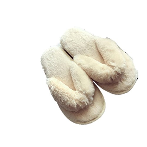 Women Slippers,Woopower Comfortable Plush Spa Thong Anti-slip Flip Flops Home Shoes Beige