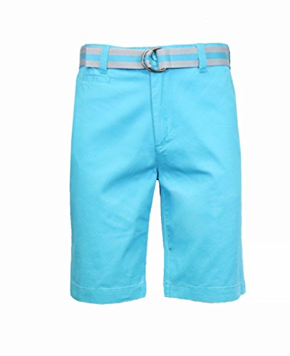 Men's 100% Fine Cotton Twill Flat Front Belted Shorts with Contrast Stripe - Cyan Blue, Size 36 (Twill Stripe Cotton Shorts)
