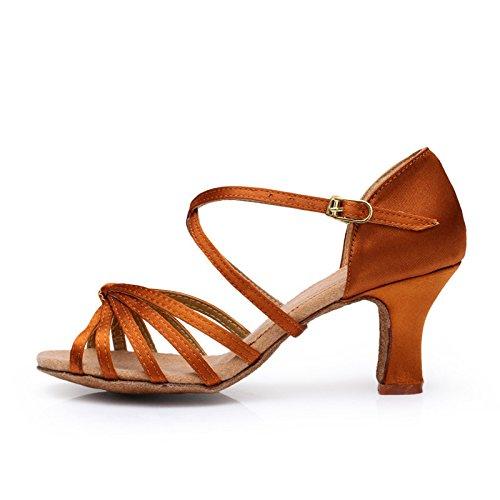 de de Latino BYLE de Color Sandalias Marrón Samba Baile Moderno Clásico Cuero Suave de Onecolor Zapatos Alto Baile Tobillo Zapatos Tacón Jazz 6zSr76qn