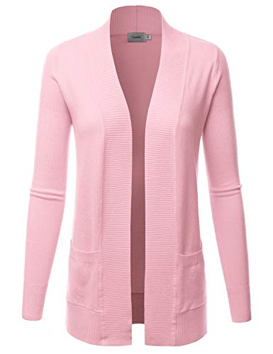 LALABEE Women's Open Front Pockets Knit Long Sleeve Sweater Cardigan-Baby Pink-M