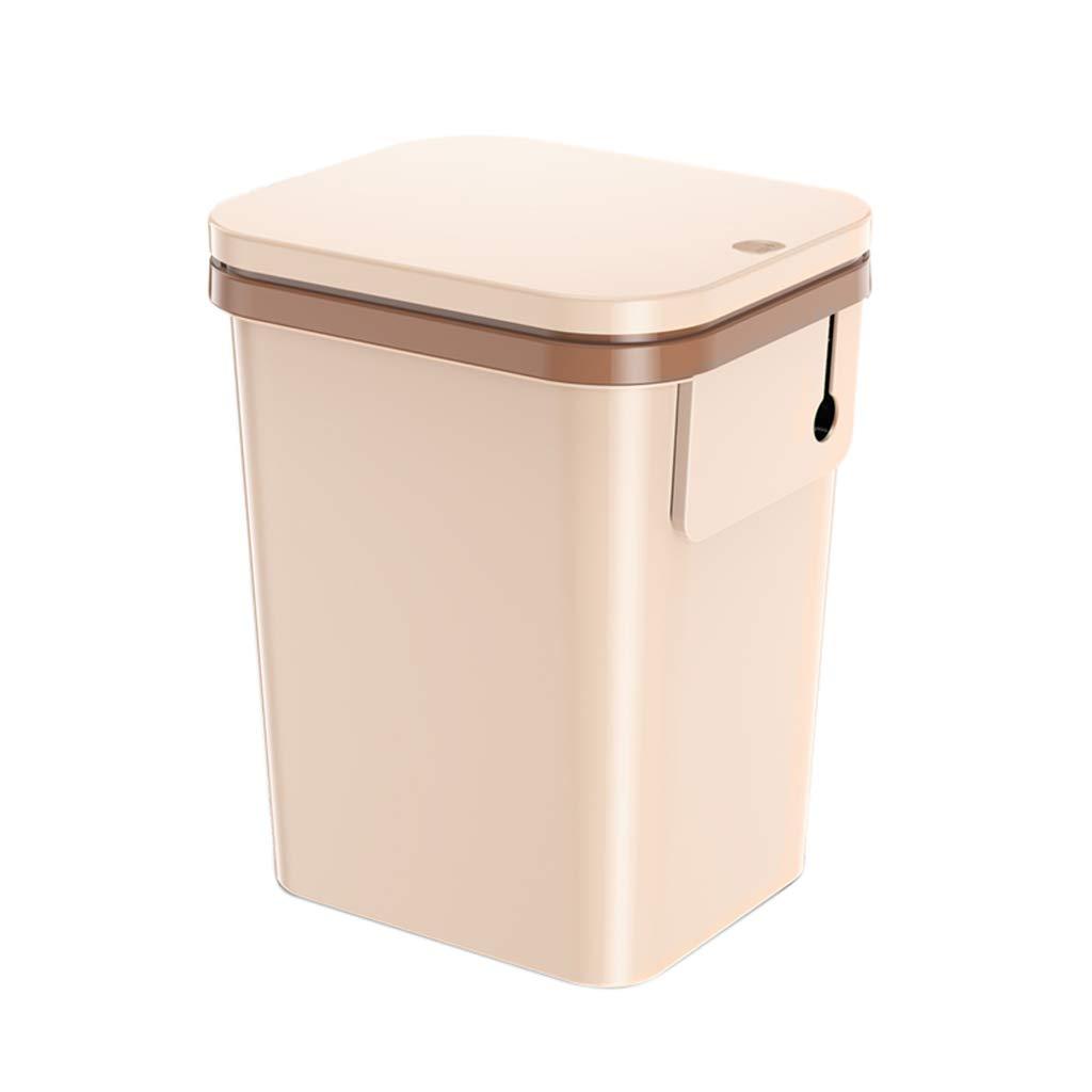 CSQ Brown Plastic Trash Can, Quickly Seal The Barrel, 2521.530.5CM Living Room Kitchen Bathroom Studio Indoor Trash Can Indoor