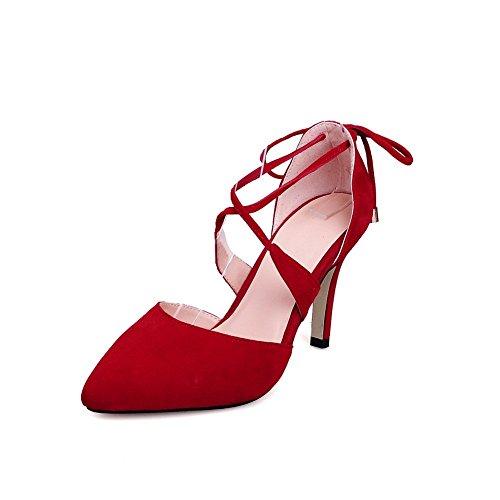 Adee Mujer cross-body-strap high-heels esmerilado bombas zapatos Rojo - rojo