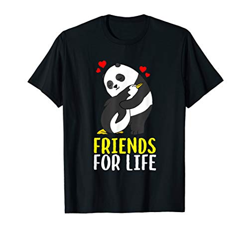 Funny Friends For Life Panda Penguin Hug Shirt