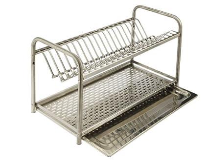 Escurreplatos de acero inoxidable (80 cm) con bandeja recoge agua
