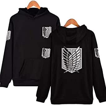 Attack On Titan recon corps fashion hoodie full sleeve cotton hoodies sweatshirt Black-L