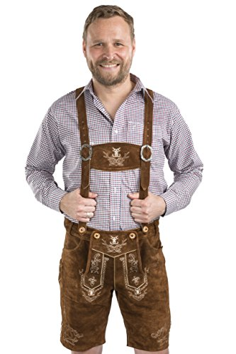Men Alpenjäger Oktoberfest German Lederhosen Leather Shorts (36