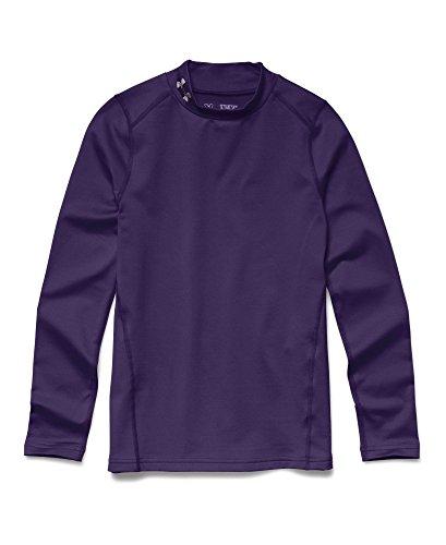 Under Armour Youth Boys ColdGear Evo Fitted Long Sleeve Mock Shirt, Purple/Steel, Medium