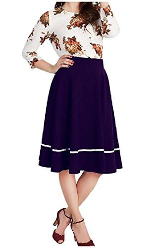 Lungo Dimensioni Vestito Coolred Eleganti Viola Cuciture Stampa donne Lavorano Larghi Metà manicotto UP1tBqH