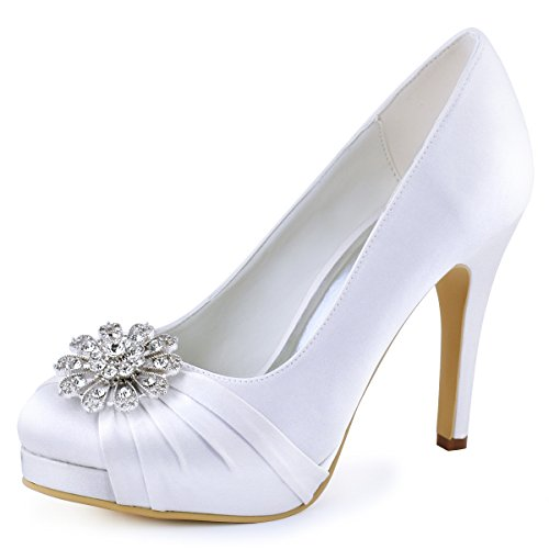 ElegantPark EP2015-NW Women High Heel Platform Pumps Closed Toe Buckle Satin Bridal Wedding Shoes White US 8 Dyeable Satin Wedding Platform Shoes