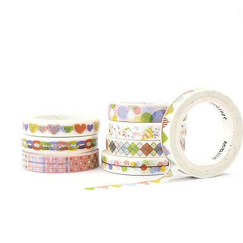 [8-Pack] New Signature Collection Designer Washi Tape: Perfect Multi Purpose Colored Masking Tape for Walls, Arts and Crafts, DIY, Scrapbook - 7mm x 5m (Birthday Bash) -