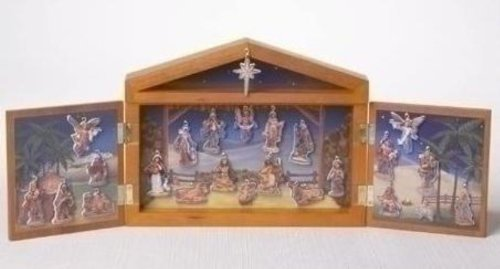 25 Piece Nativity Advent Calendar Set with Wooden Stable ...