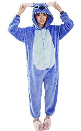 LATUD Men's Unisex Devil Animal Thermal Flannel Onesie Pajamas Loungewear Blue