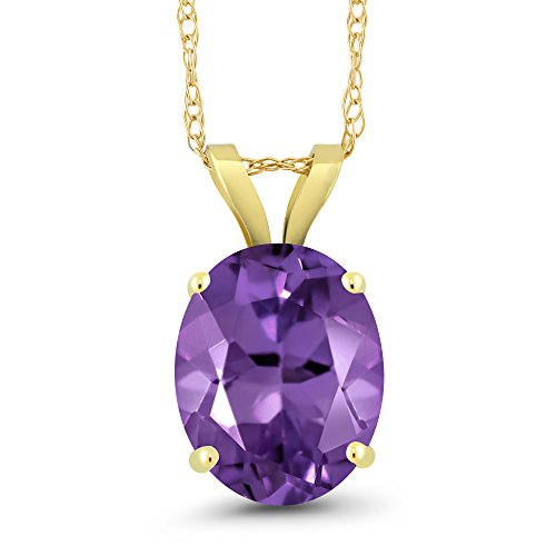 - Gem Stone King 2.20 Ct Oval Purple Amethyst 14K Yellow Gold Pendant With Chain