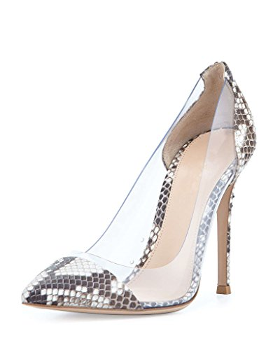 Wedding Womens Transparent Cap Event Toe 10cm Pointed Pumps High Dress Heel Snake Shoes Pvc Stilettos Eldof Pxdq0AawP