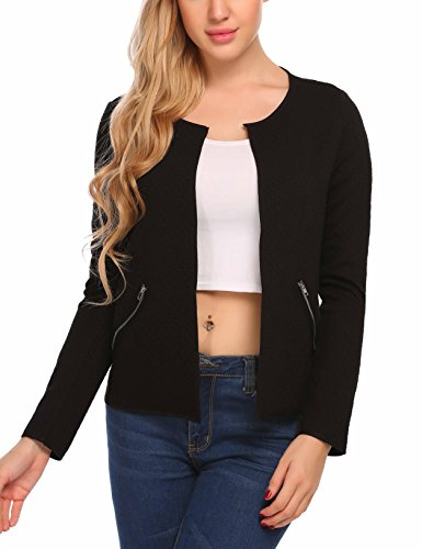 ELESOL Women Casual Quilted Blazer Jacket Colorblock Thin Jacket Coat Black/XL