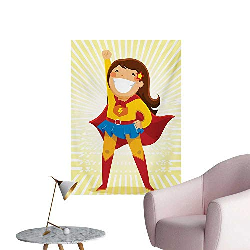 ParadiseDecor Superhero Corridor/Indoor/Living Room Courageous Little Girl with a Big Smile in Costume Standing in a Heroic PositionMulticolor W20 xL28 Poster Paper