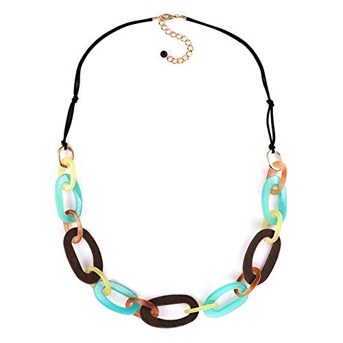 (FAMARINE Multicolor Oval Link Long Necklace, Acrylic Wood Chunky Statement Rope Necklaces for Women)