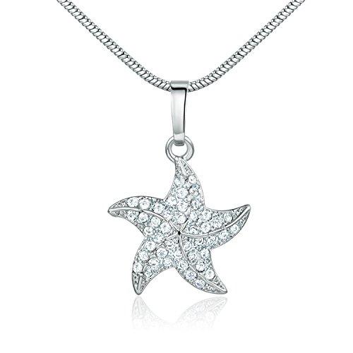 GULICX Starfish Sea Necklace Pendant Chain Girl Gift Girl Gift Silver Tone ()