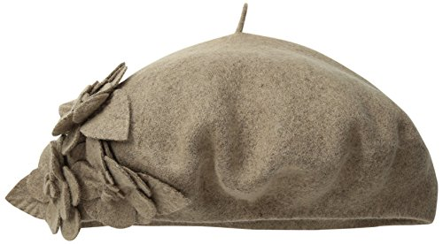 (San Diego Hat Company Women's Wool Beret Hat with Self Flowers, Mink, One)