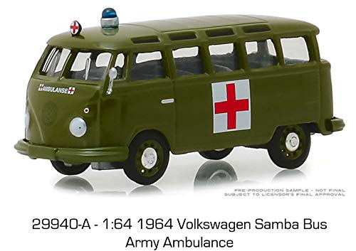 New DIECAST Toys CAR Greenlight 1:64 Club V-Dub Series 8-1964 Volkswagen Samba Bus Army Ambulance Green -