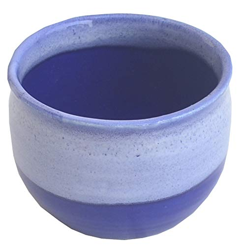 Javi 3x4 Inch Handmade Blue White Pottery Ceramic Shaving Bowl for Men-Shaving Soap Cream Bowl For Shave/Portable Shaving Bowl Mug-Beautiful Gift for Dad,Grandpa