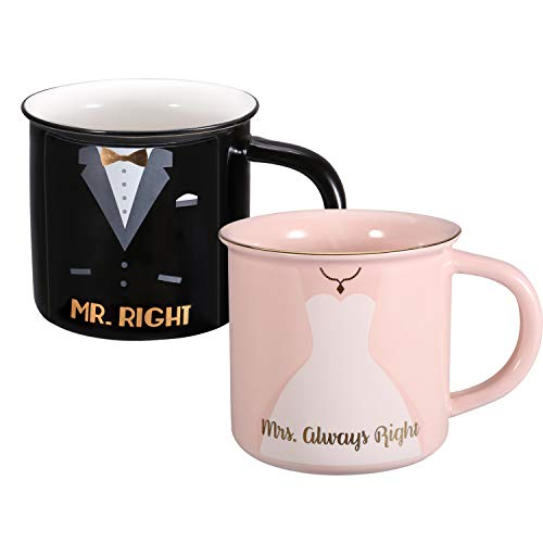 (Rosa&Rose Imitation Tang Porcelain Cup Ceramic Coffee Mug Set 12oz- Unique Gifts Set and Wedding Gift For Bride)